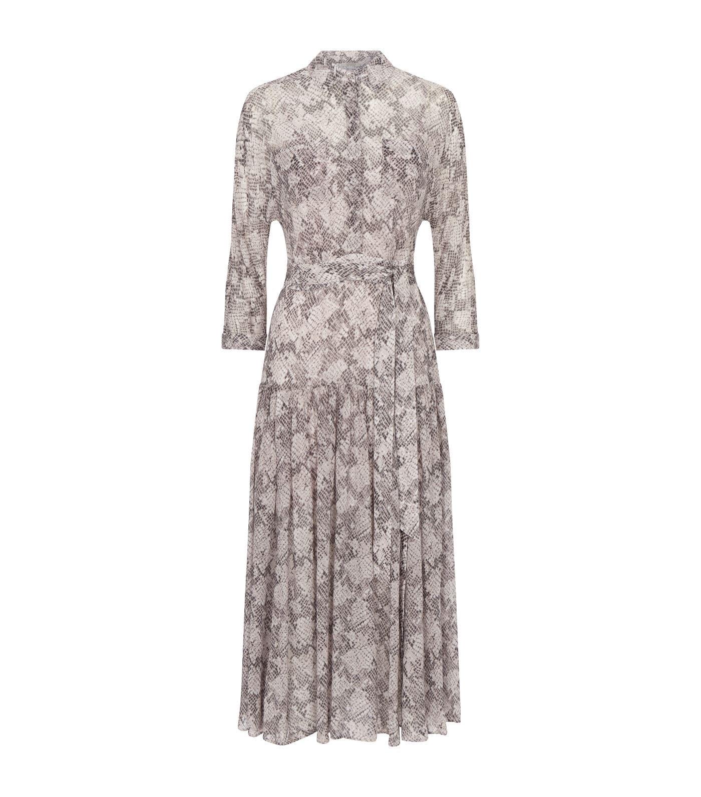 ALLSAINTS Eley Midgard Snake Print Midi Dress