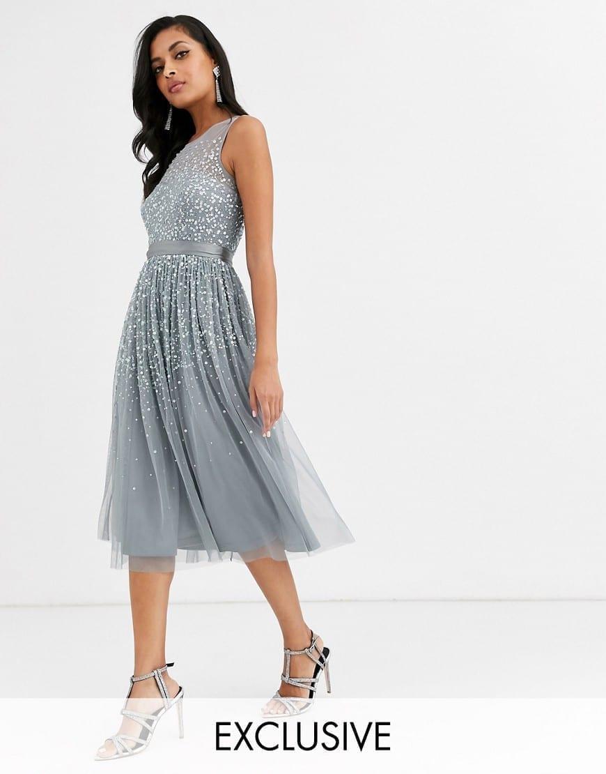 AMELIA ROSE Scattered Embellishment Bridesmaid Midi Dress