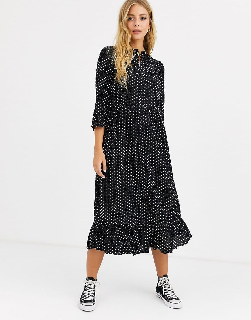 ASOS DESIGN Button Through Tiered Smock Maxi Dress