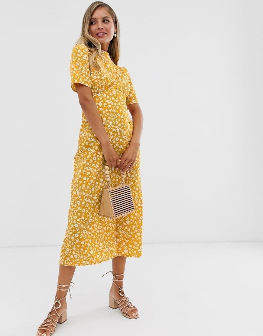 ASOS DESIGN Buttons Midi Tea Dress