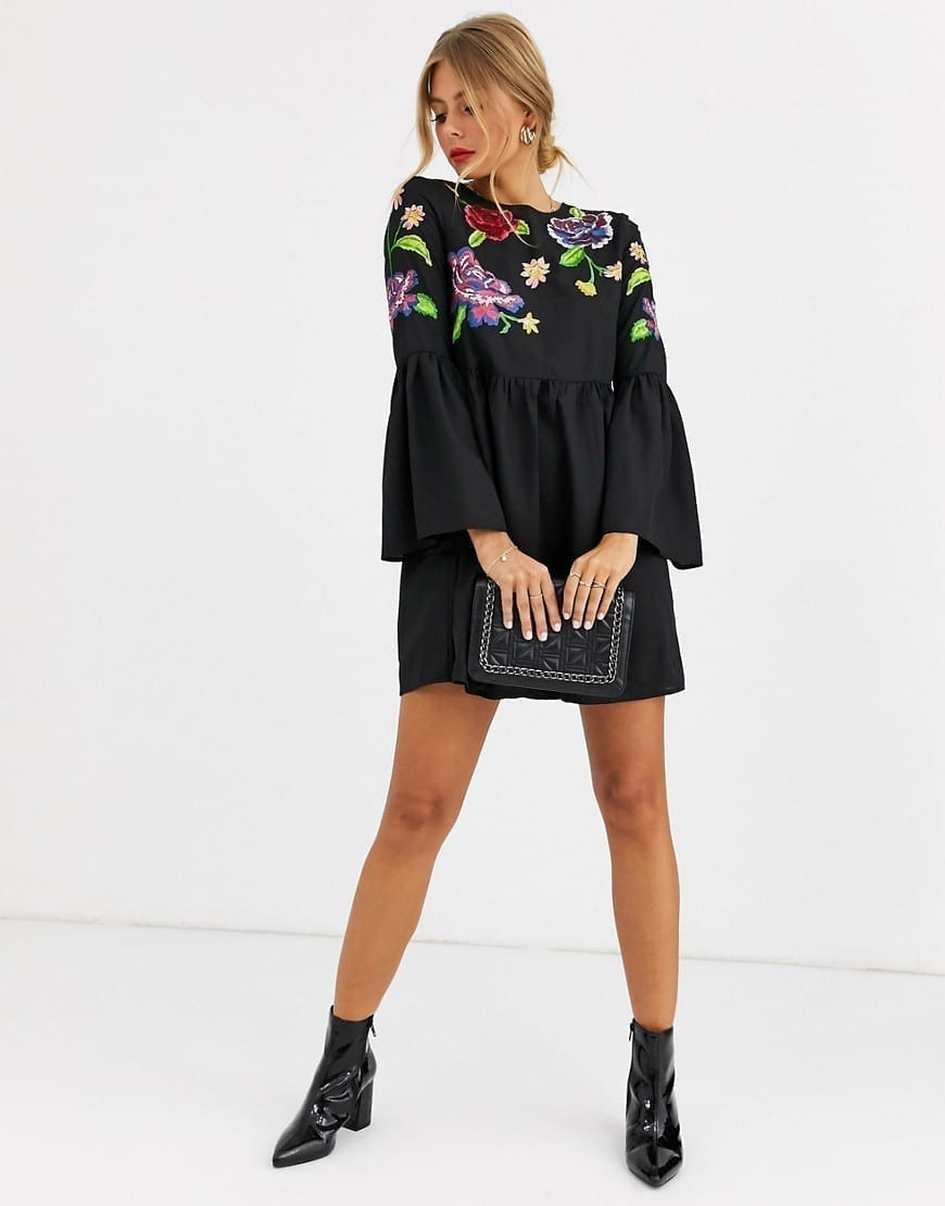 ASOS DESIGN Fluted Sleeve Embroidered Smock Mini Dress