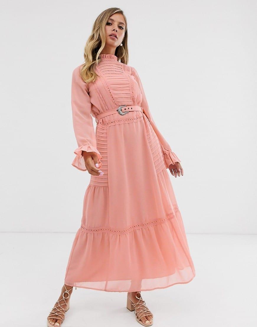 ASOS DESIGN Lace Insert Buckle Belt Maxi Dress
