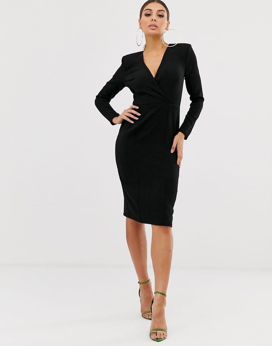ASOS DESIGN Long Sleeve Plunge Wrap Midi Dress