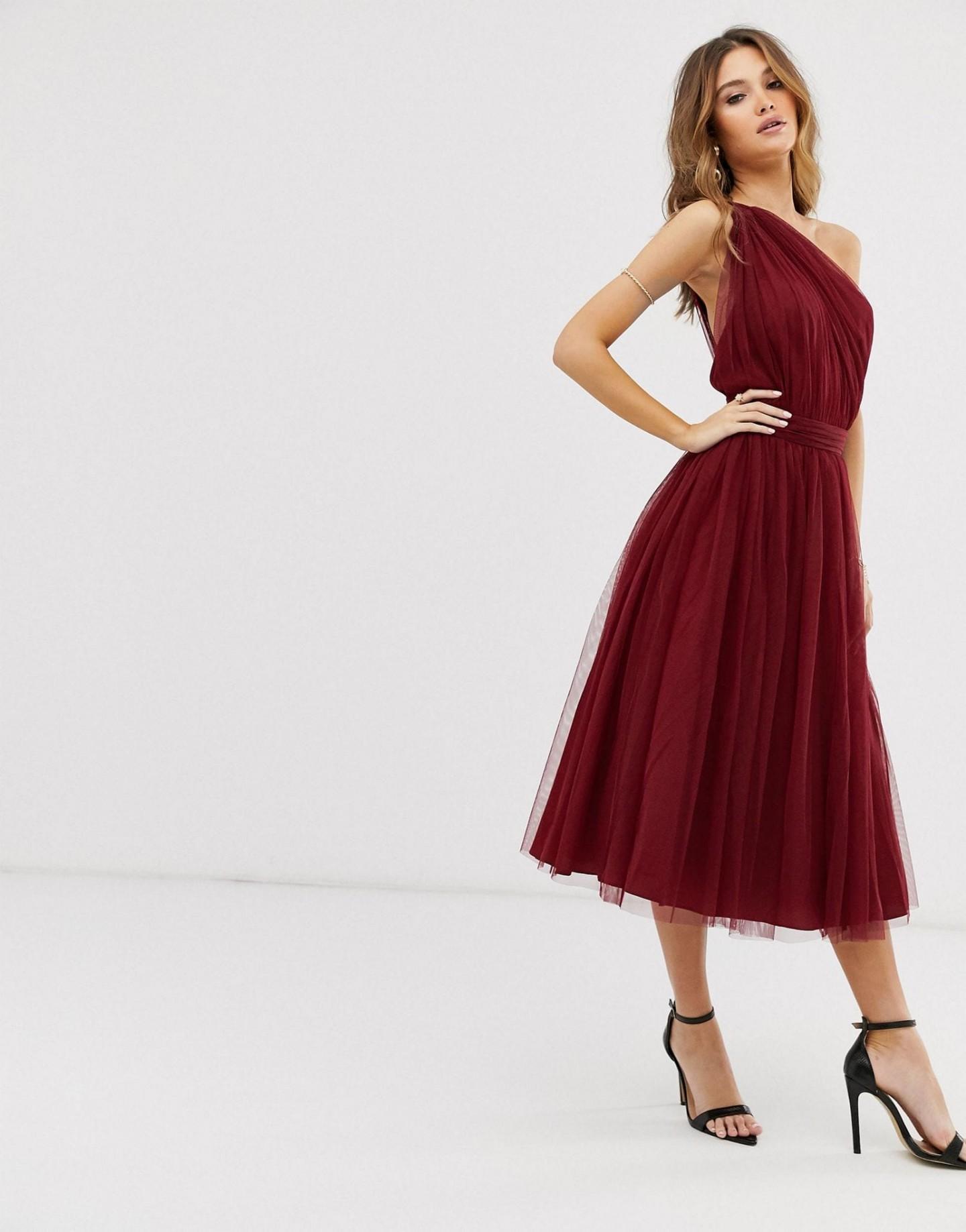 ASOS DESIGN One Shoulder Tulle Midi Dress