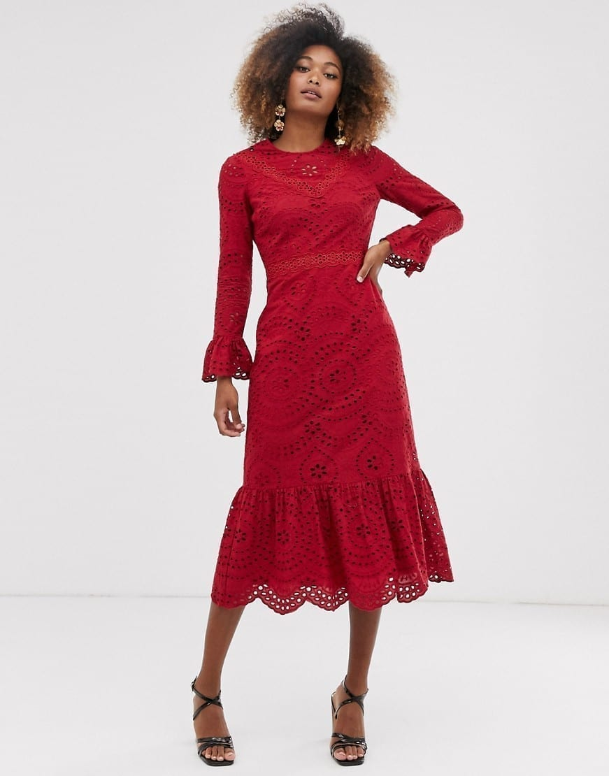 ASOS DESIGN Pep Hem And Fluted Sleeves Broderie Maxi Dress