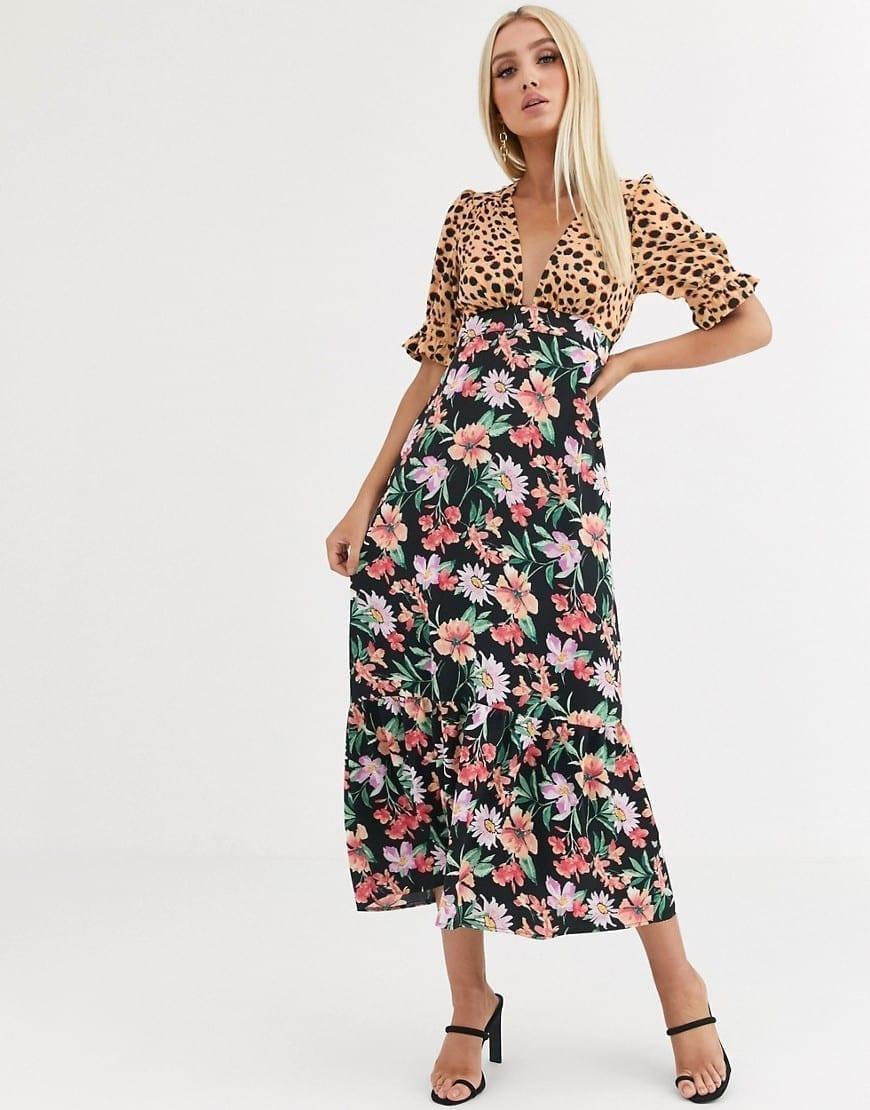 ASOS DESIGN Pep Hem Plunge Tea Maxi Dress