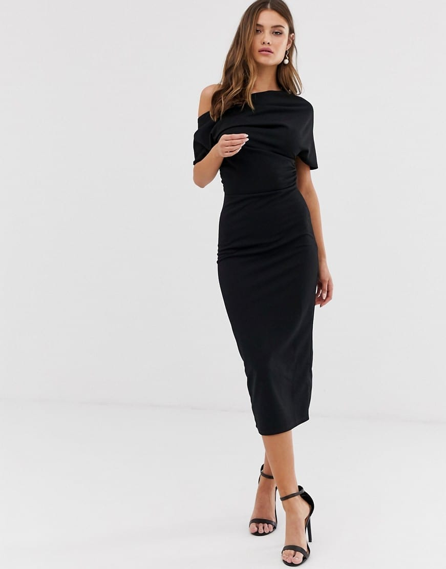 ASOS DESIGN Pleated Shoulder Pencil Dress