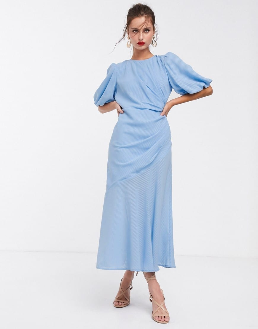 ASOS DESIGN Puff Sleeve Ruched Maxi Dress