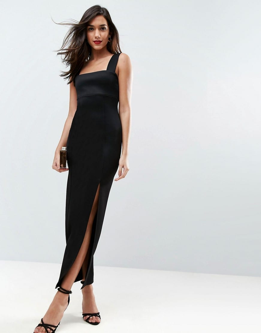 ASOS DESIGN Square Neck Scuba Thigh Split Maxi Dress