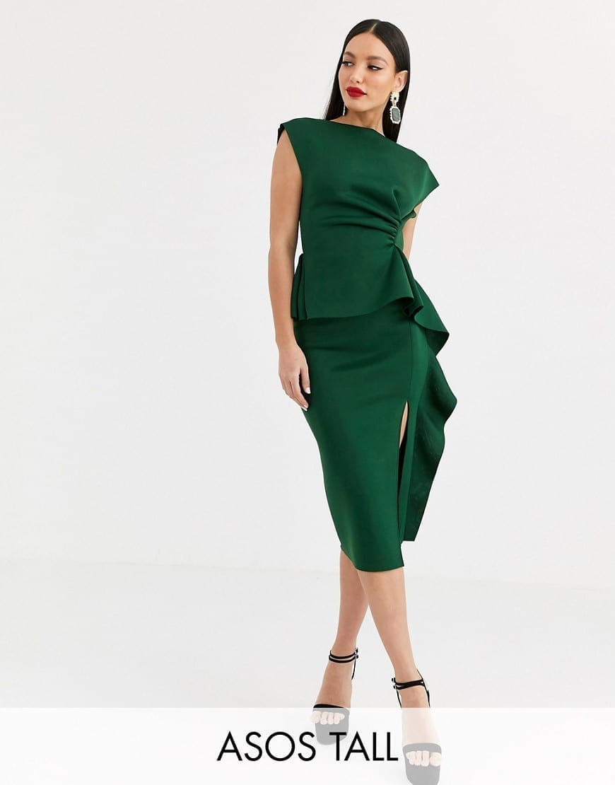 ASOS DESIGN Tall Peplum Pencil Tuck Detail Midi Dress