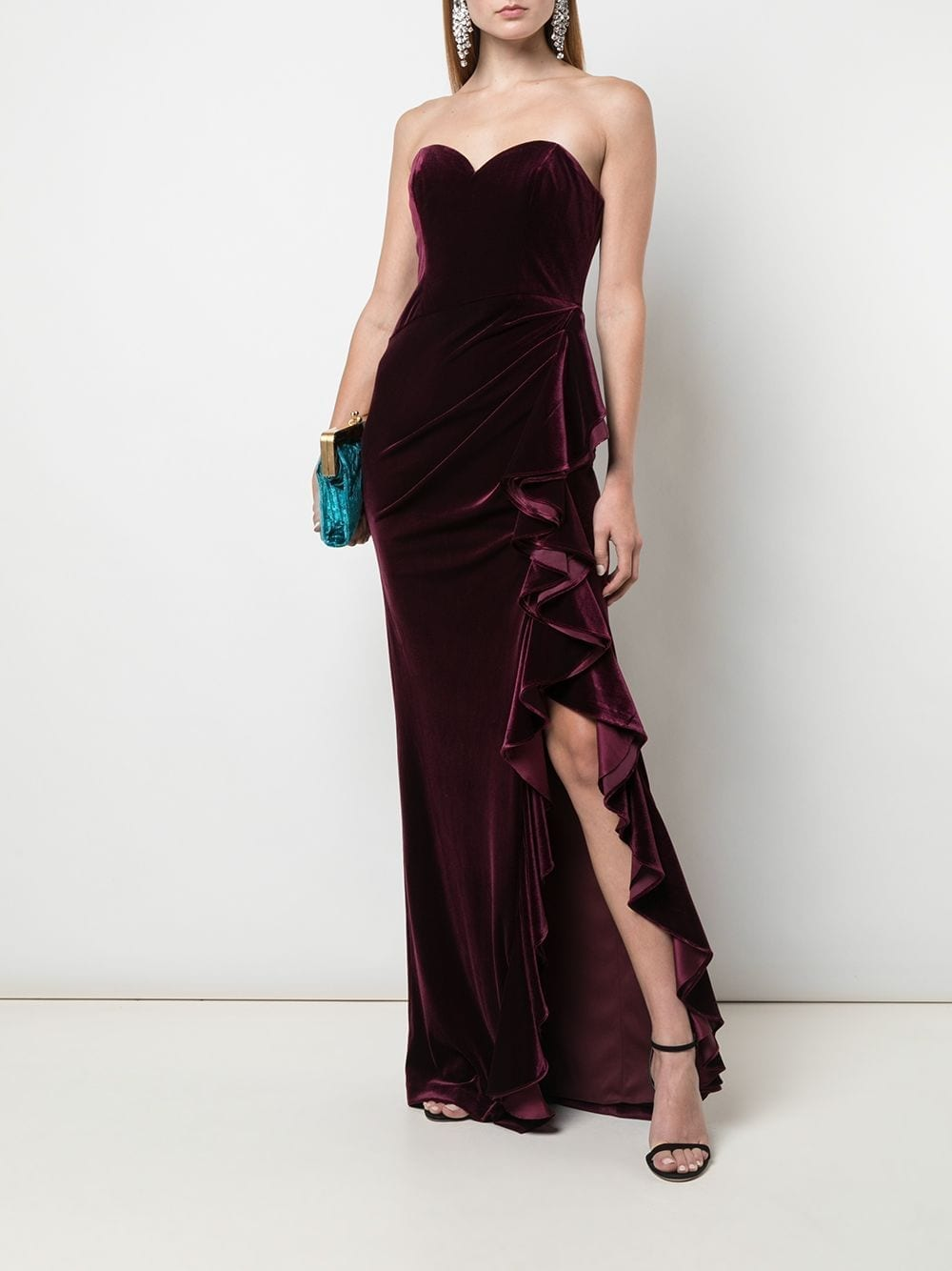 BADGLEY MISCHKA Ruffle Trim Gown