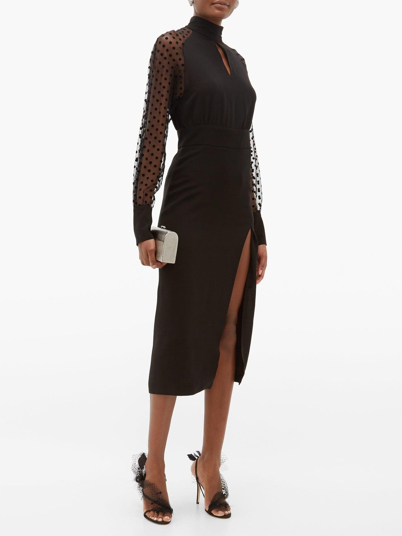 BALMAIN High-neck Polka-dot Sleeve Crepe Dress