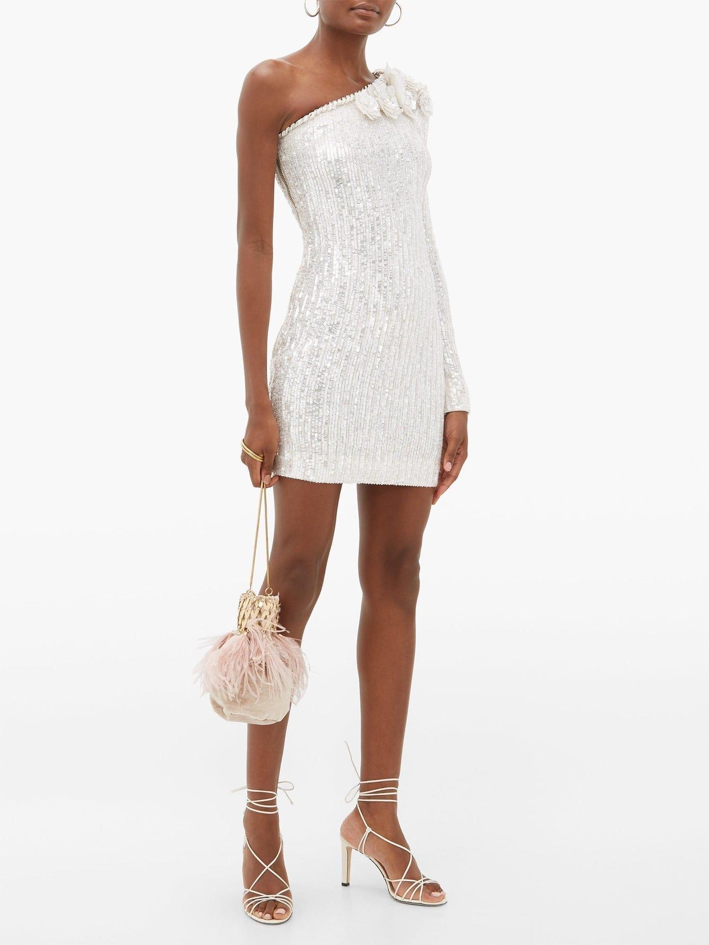 BALMAIN Sequinned One-shoulder Mini Dress