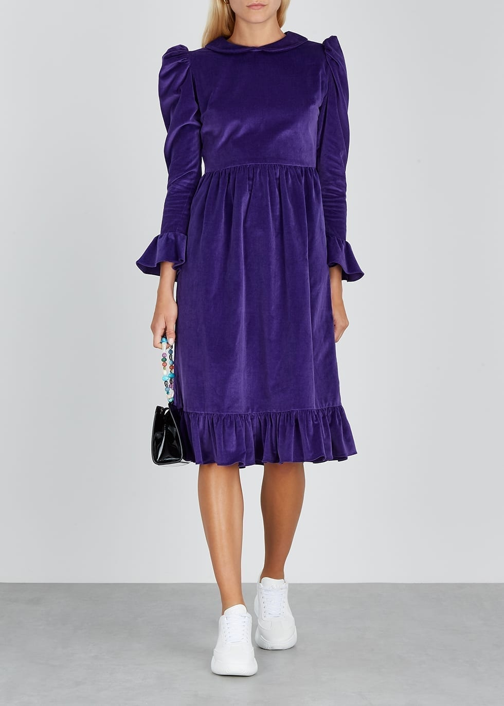 BATSHEVA Purple Velvet Midi Dress