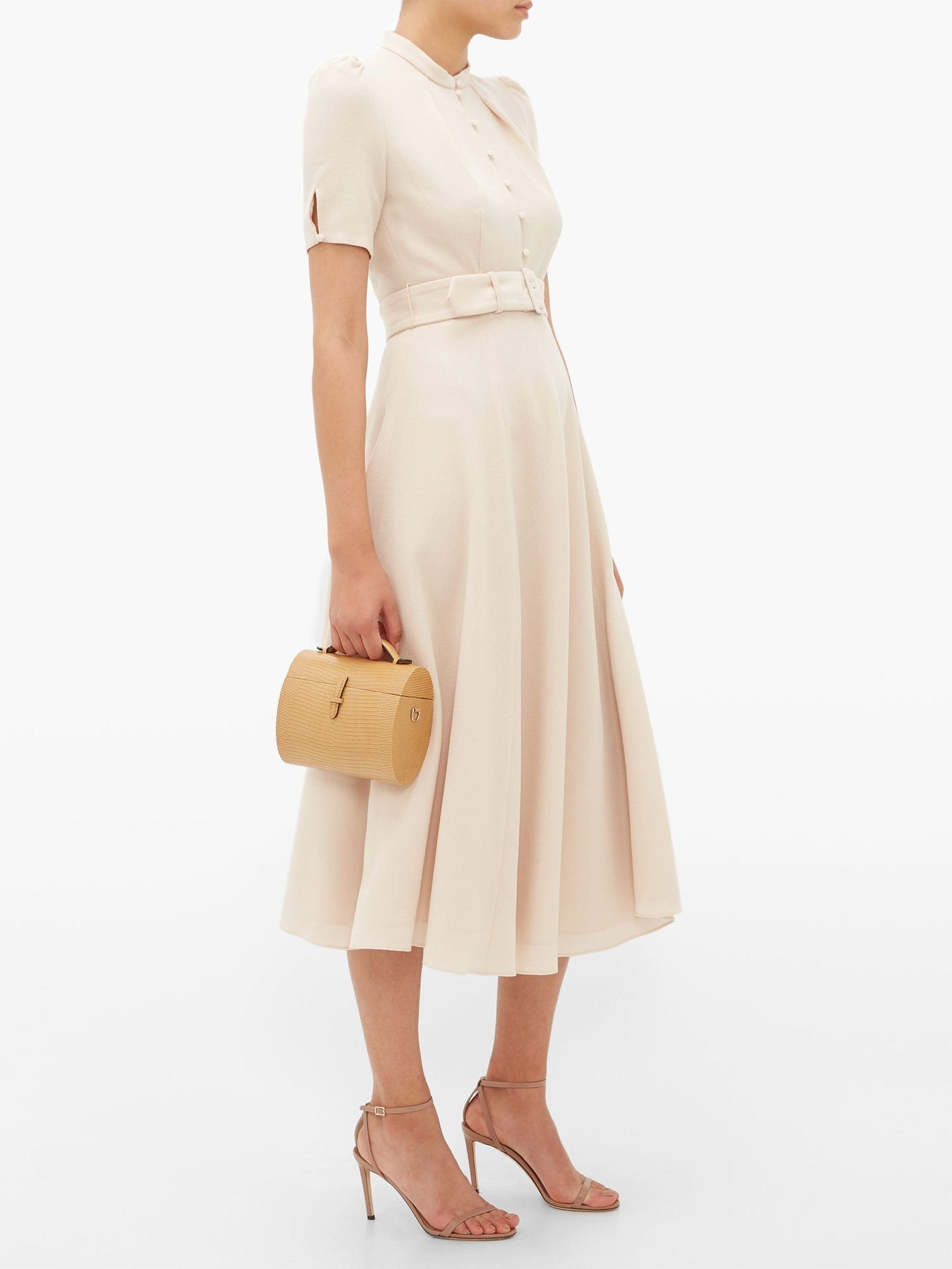 BEULAH Aahna Puff-sleeve Belted Wool Dress
