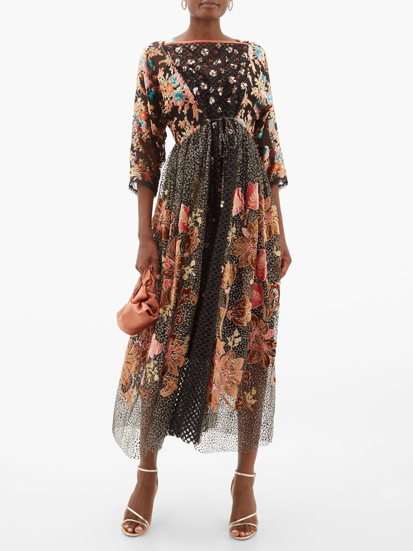 BIYAN Inggrid Embroidered Patchwork-devoré Dress