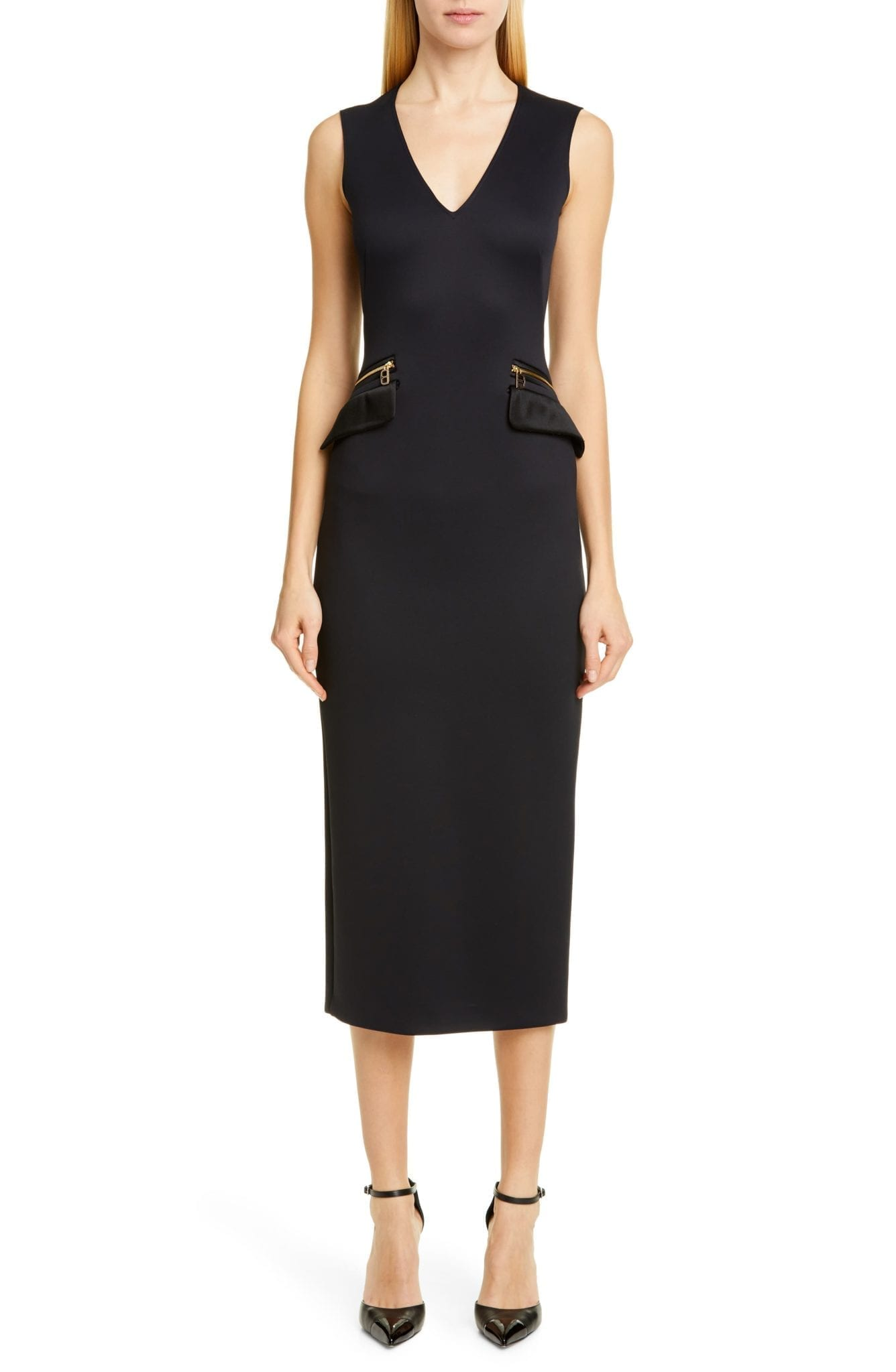 BRANDON MAXWELL Zip Pocket Midi Sheath Dress
