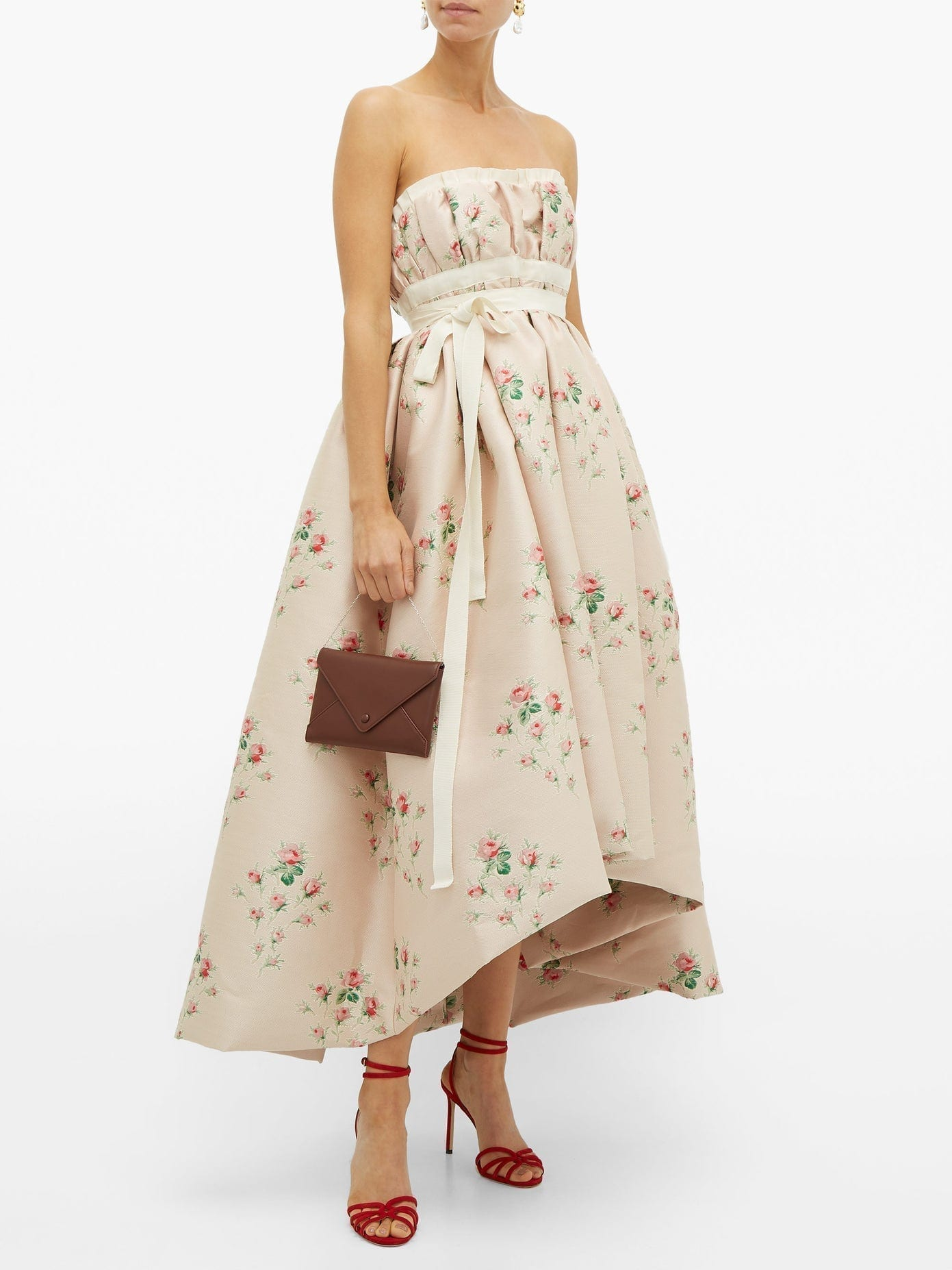 BROCK COLLECTION Grosgrain-trim Floral-cloqué Gown