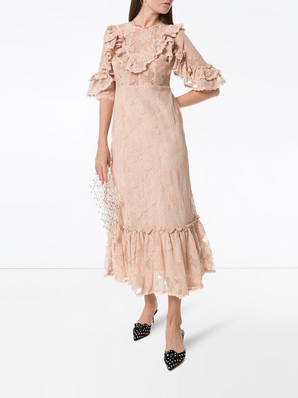 BYTIMO Ruffled Lace Midi Dress