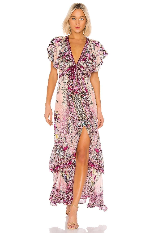 CAMILLA Tie Front Maxi Dress