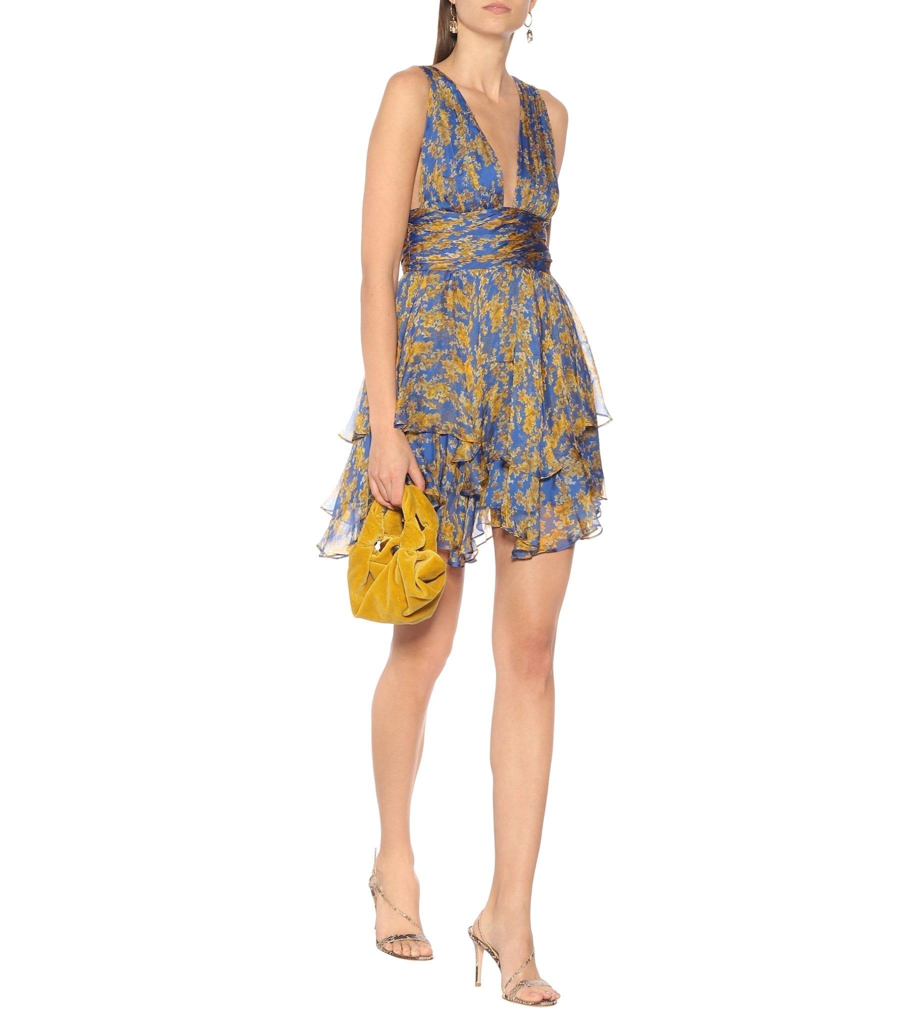 CAROLINE CONSTAS Paros Floral Silk-chiffon Mini Dress