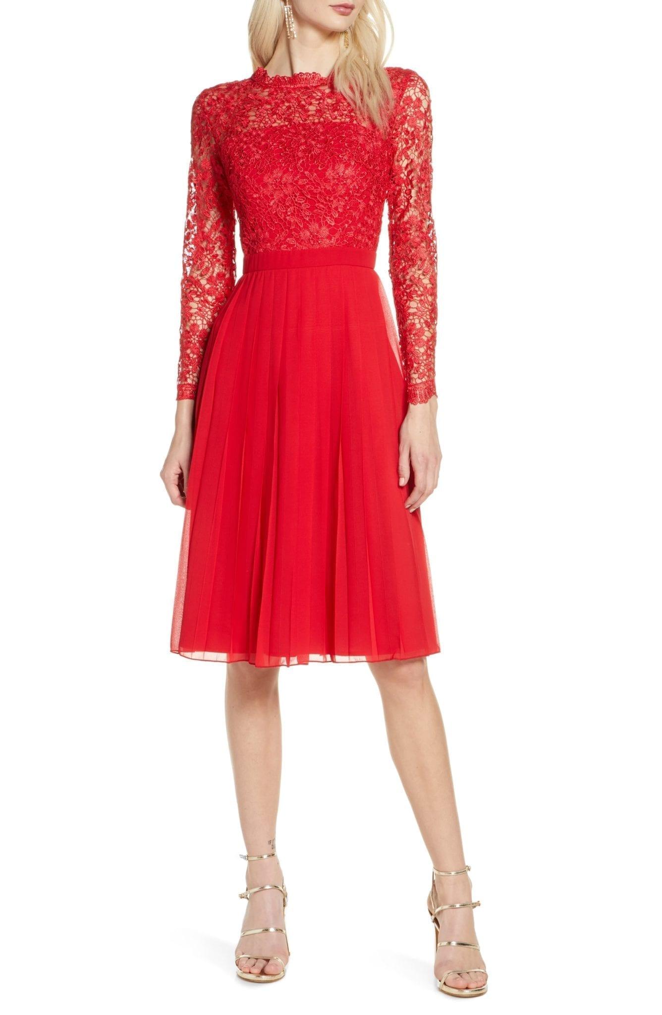 CHI CHI LONDON Naarah Long Sleeve Lace Bodice Chiffon Cocktail Dress