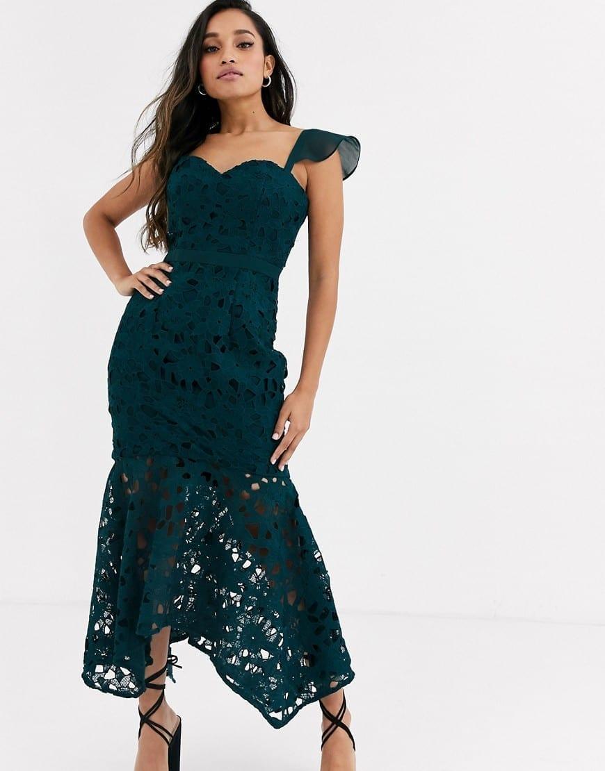 CHI CHI LONDON Petite Off Shoulder Sweetheart Lace Maxi Dress