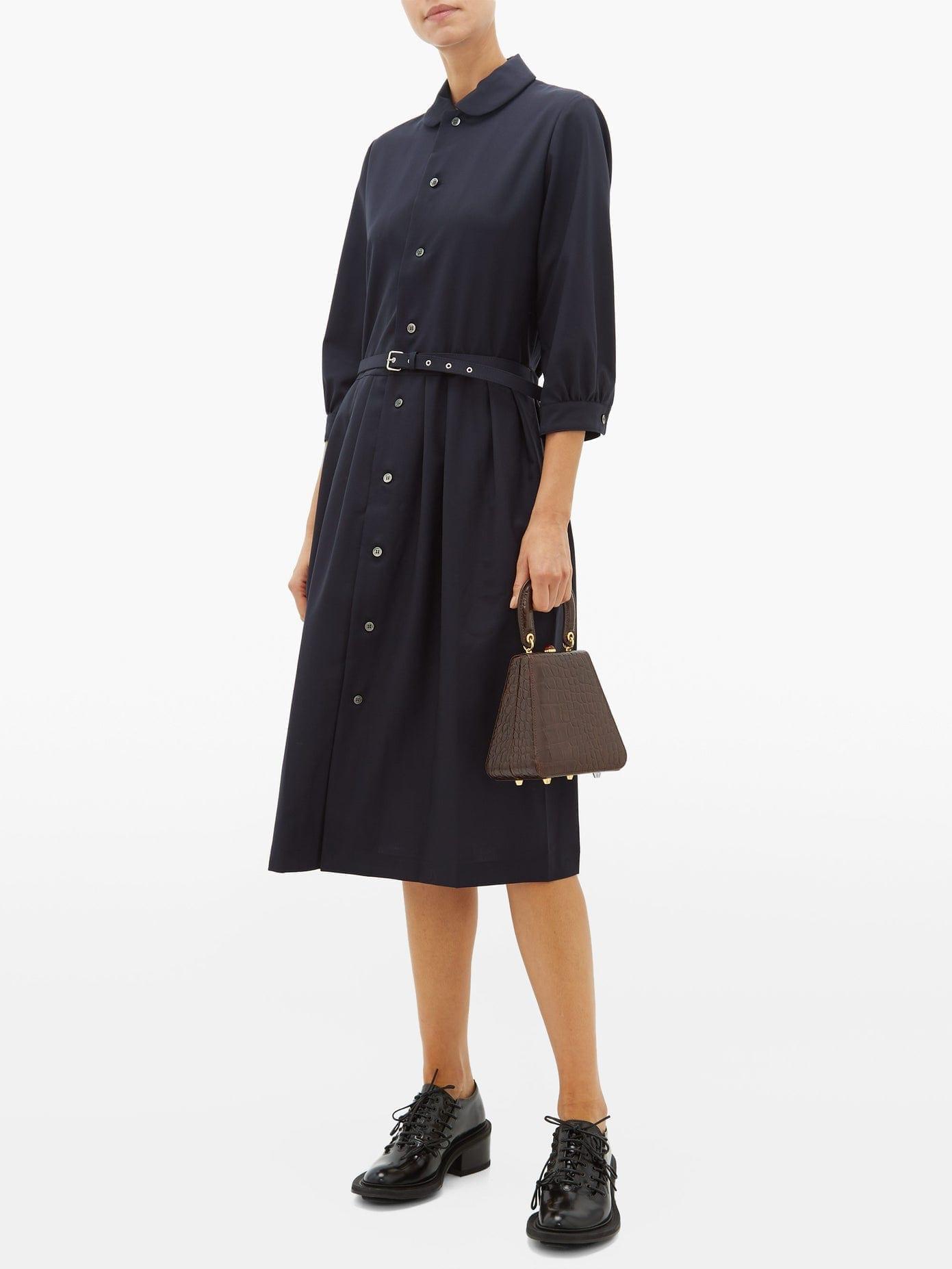 COMME DES GARÇONS GIRL Belted Wool Shirt Dress