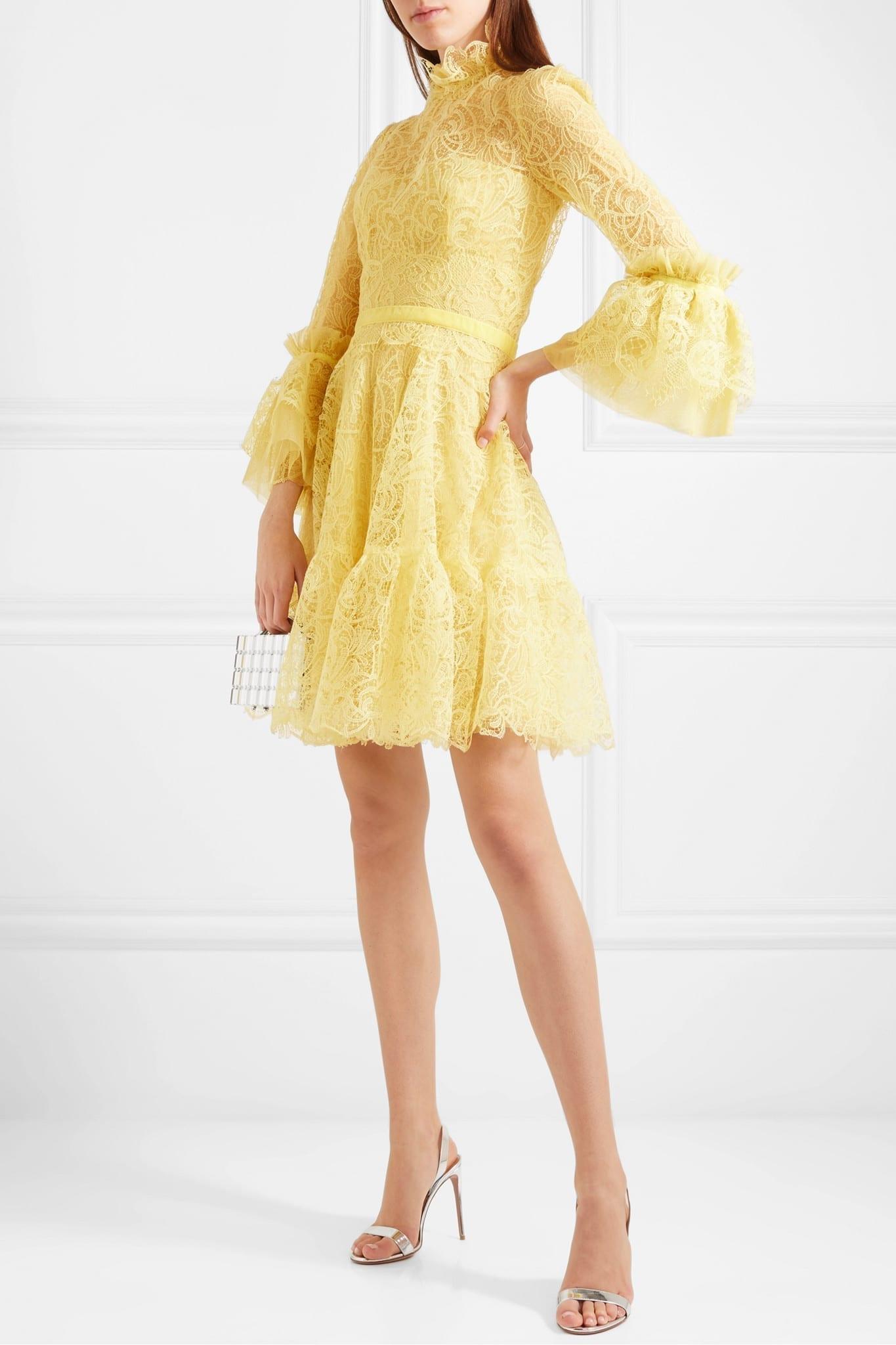 COSTARELLOS Velvet-trimmed Ruffled Corded Lace Mini Dress