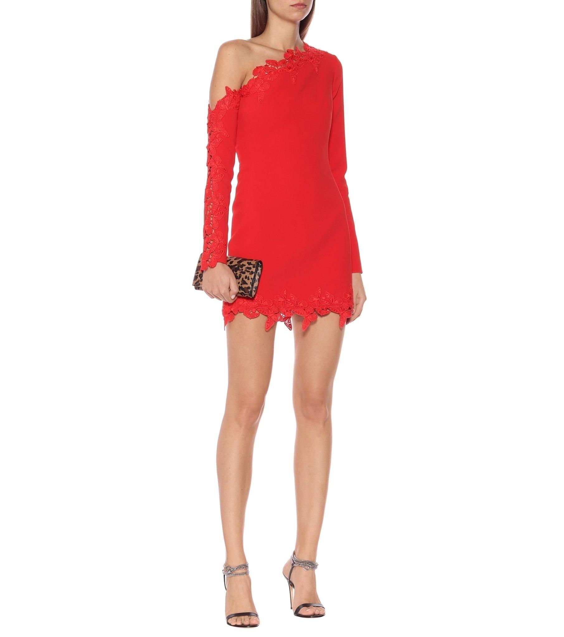 DAVID KOMA Lace-trimmed Crêpe Mini Dress