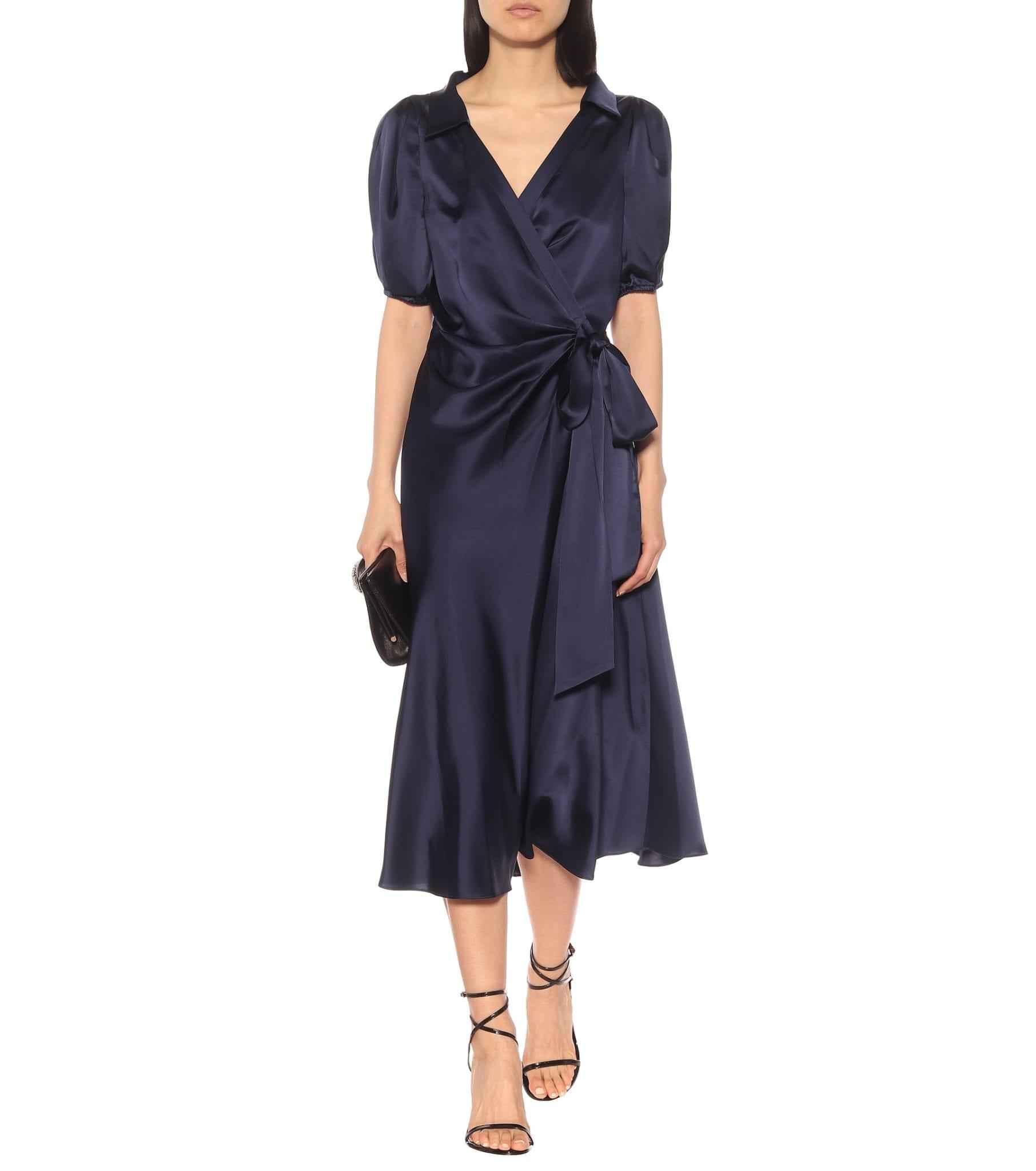 DIANE VON FURSTENBERG Valentina Satin Midi Wrap Dress
