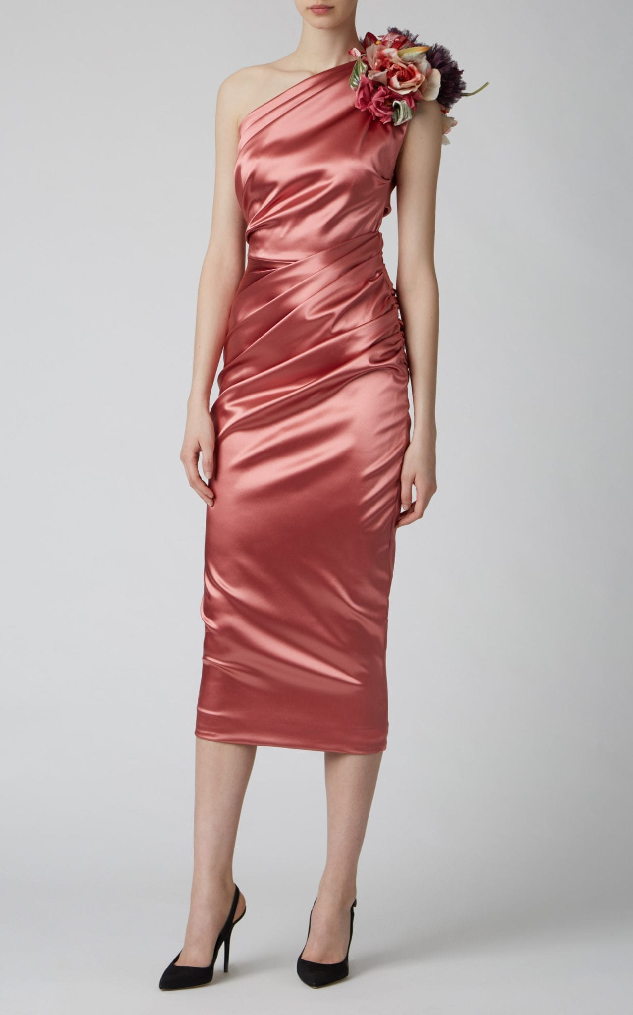 DOLCE & GABBANA Embellished One-Shoulder Ruched Satin Dress