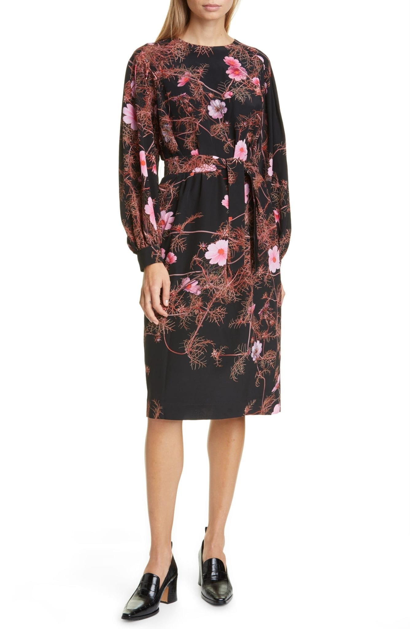 DRIES VAN NOTEN Dizan Floral Print Long Sleeve Silk Dress