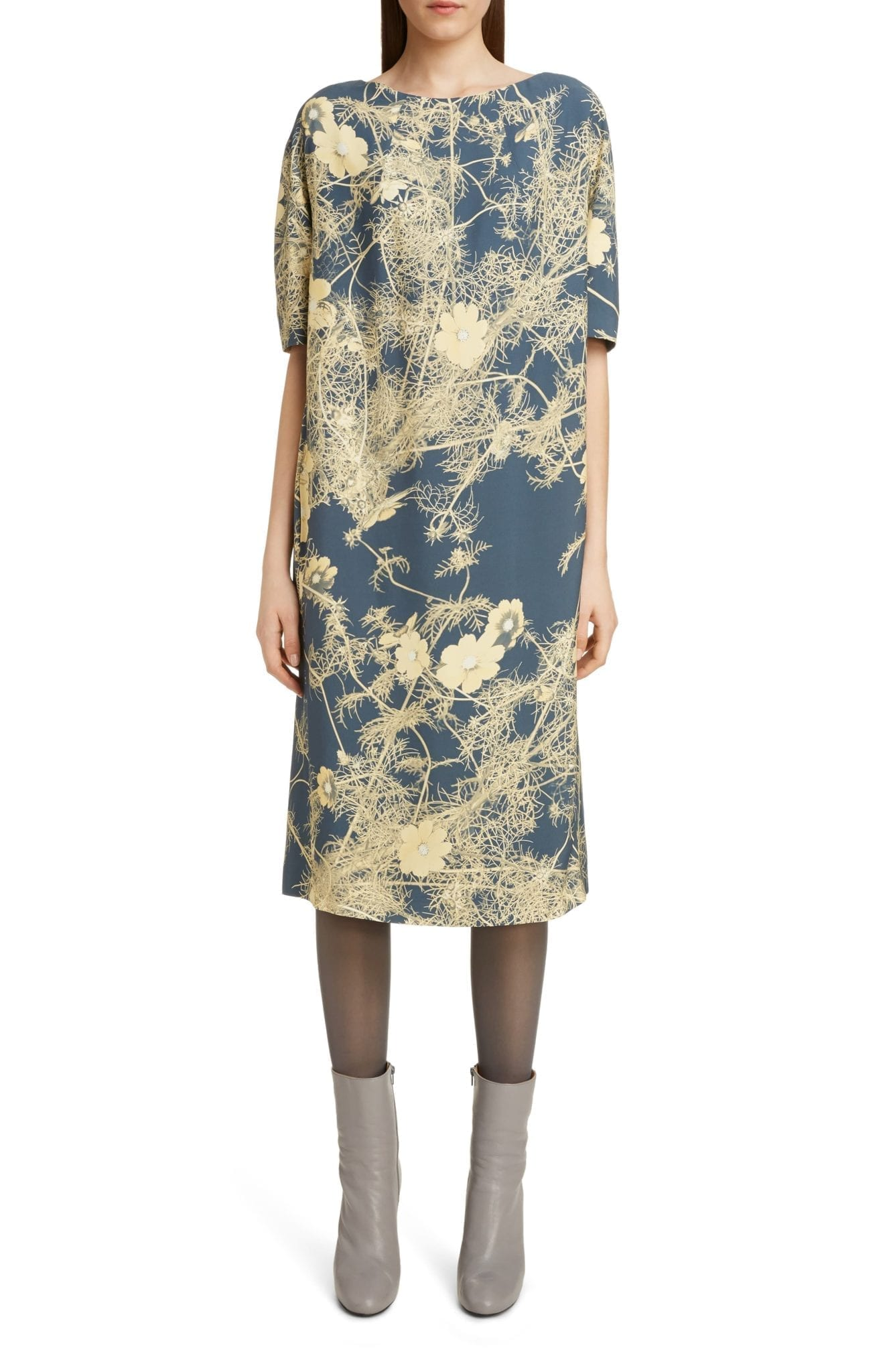 DRIES VAN NOTEN Dorine Branch Print Scuba Midi Dress