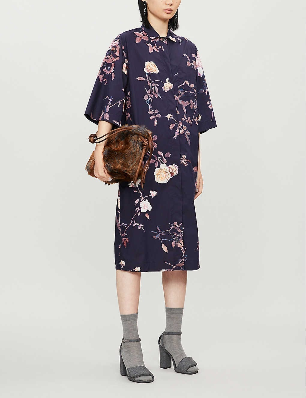DRIES VAN NOTEN Floral-print Cotton Shift Midi Dress
