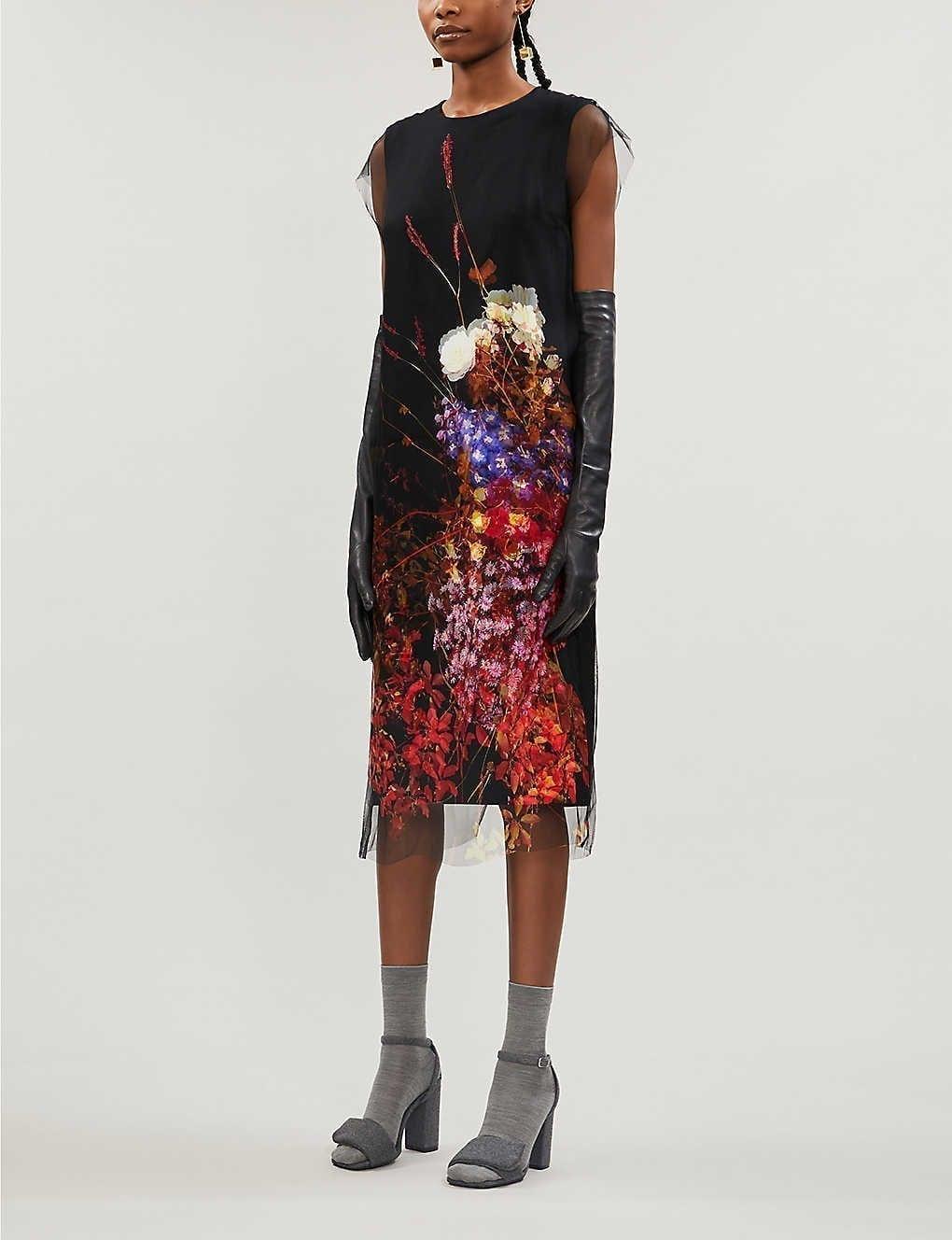 DRIES VAN NOTEN Floral-print Mesh Overlay Silk Midi Dress