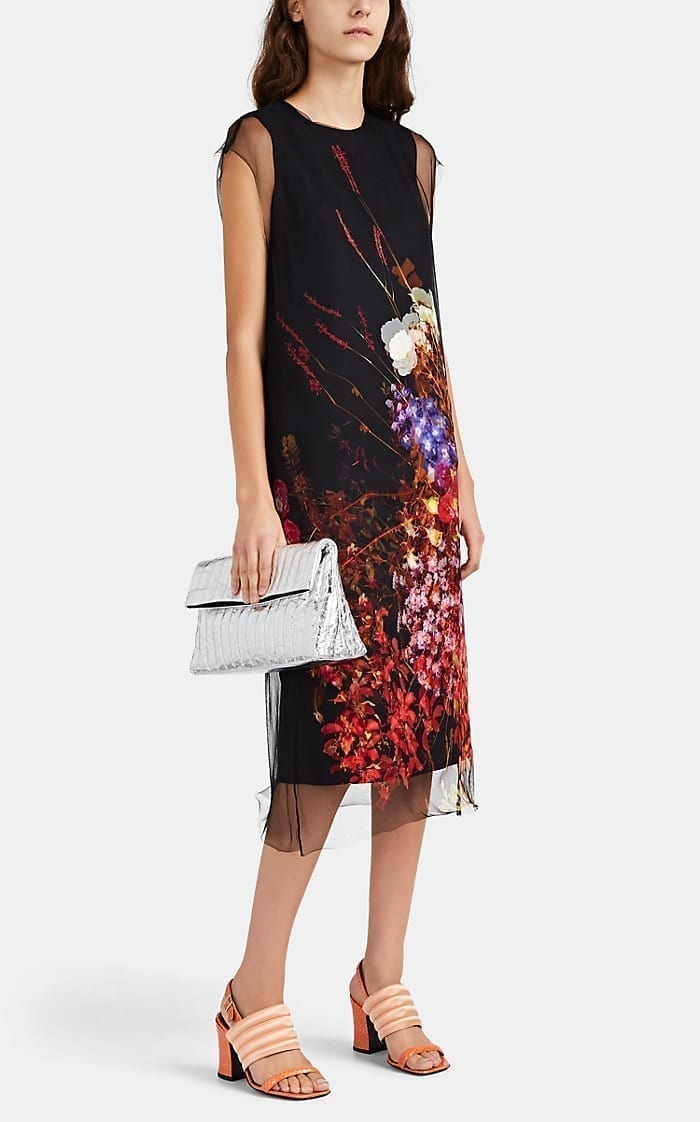 DRIES VAN NOTEN Rose-Print Tulle-Layered Shift Dress