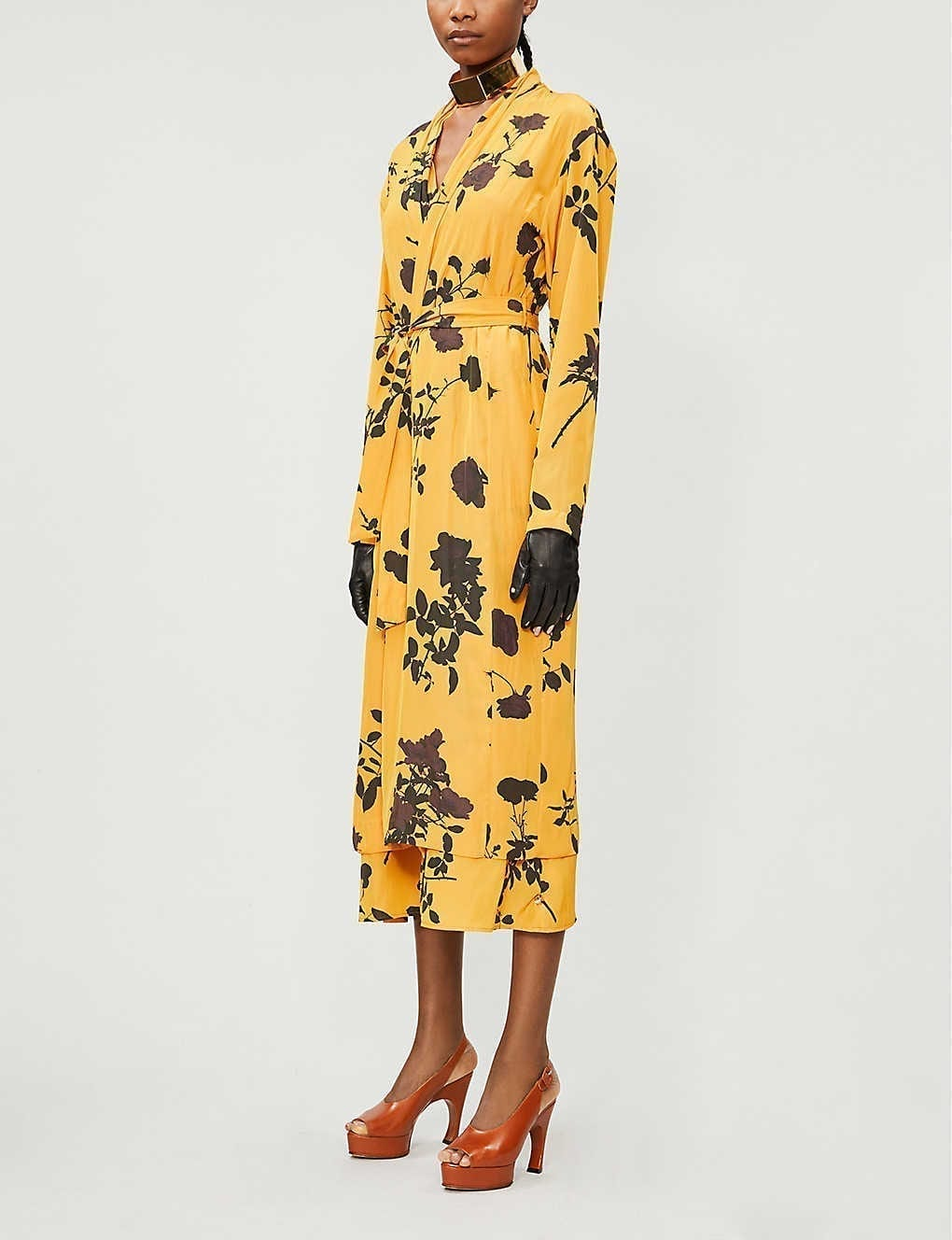 DRIES VAN NOTEN Shawl-collar Floral-print Crepe Midi Dress