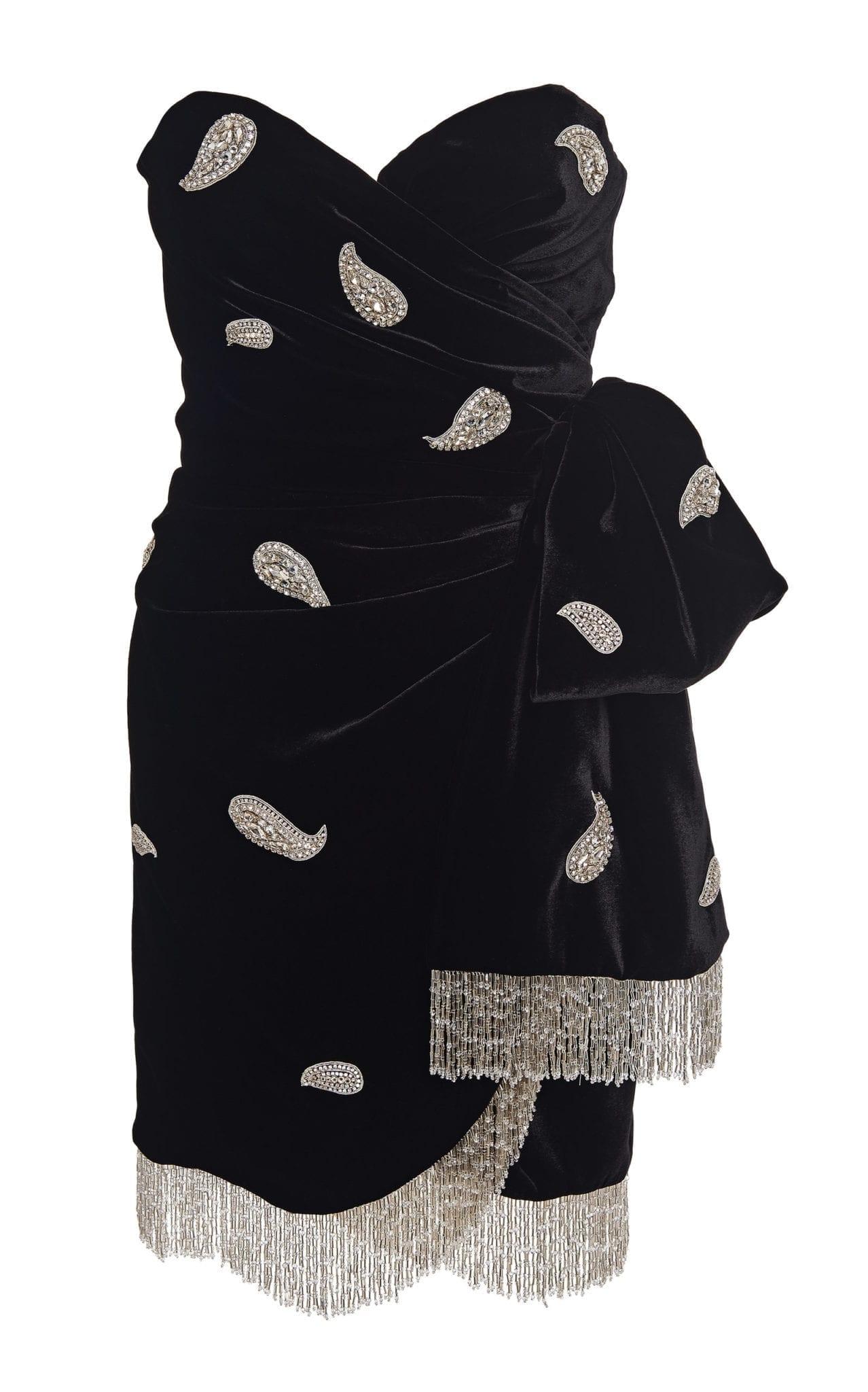 DUNDAS Embellished Wrap-Effect Velvet Mini Dress