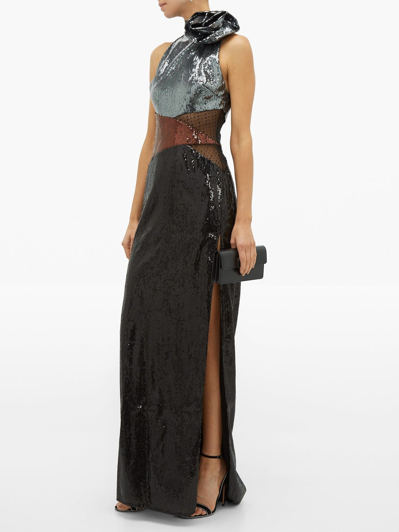 DUNDAS Rosette High-neck Sequinned Dress
