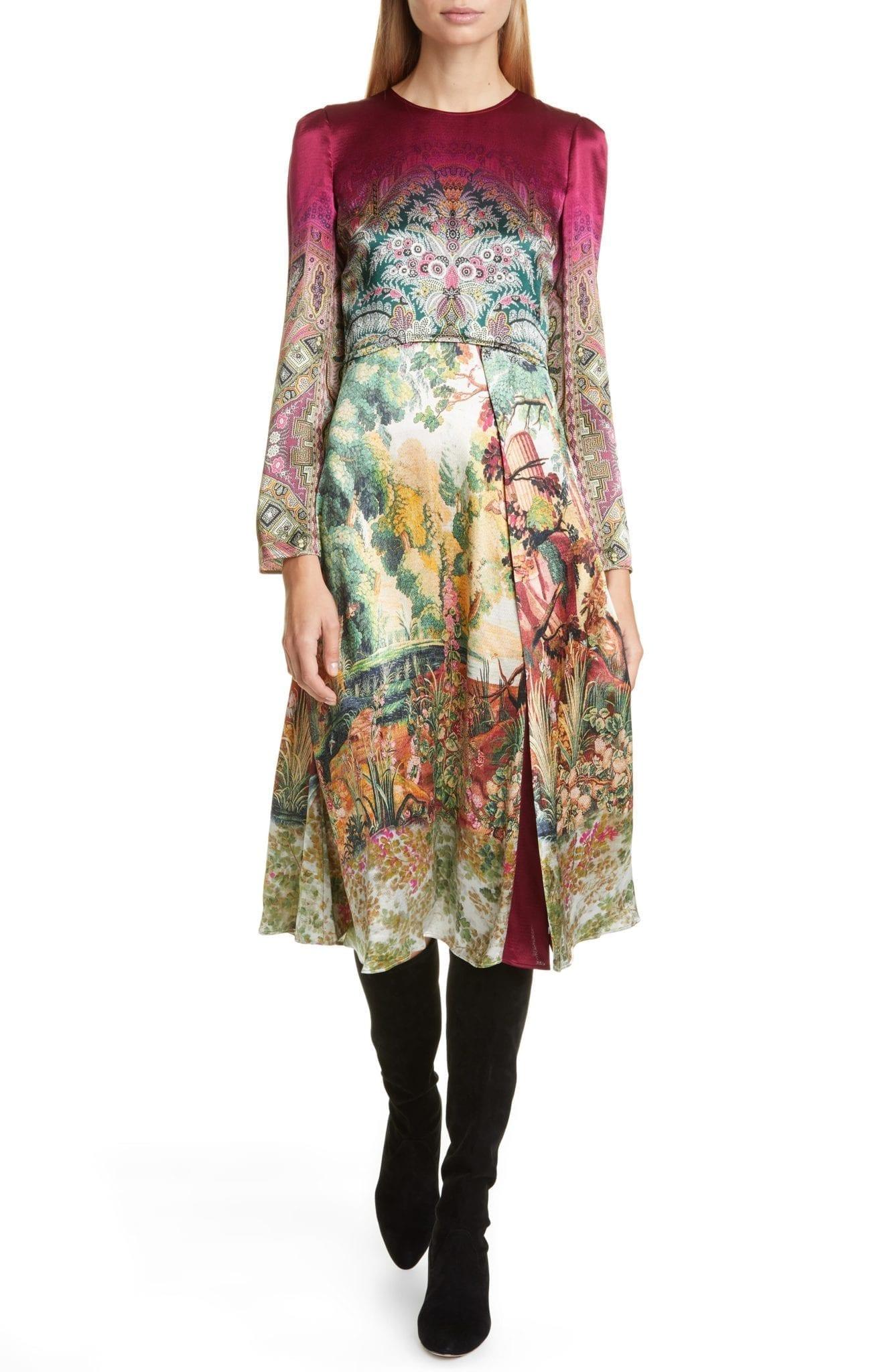 ETRO Castle Print Long Sleeve Dress