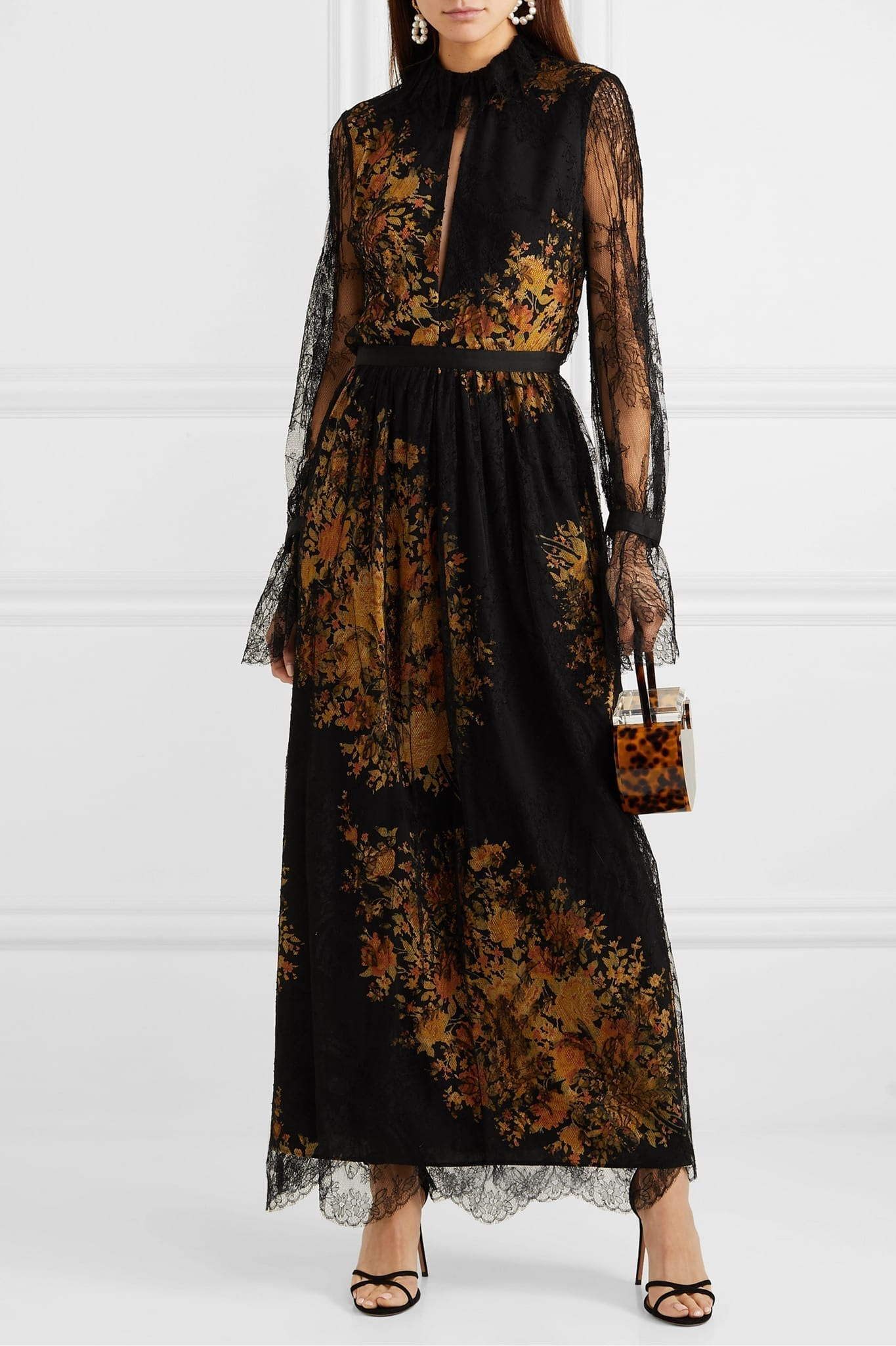 ETRO FLoral-print Lace And Crepe Maxi Dress