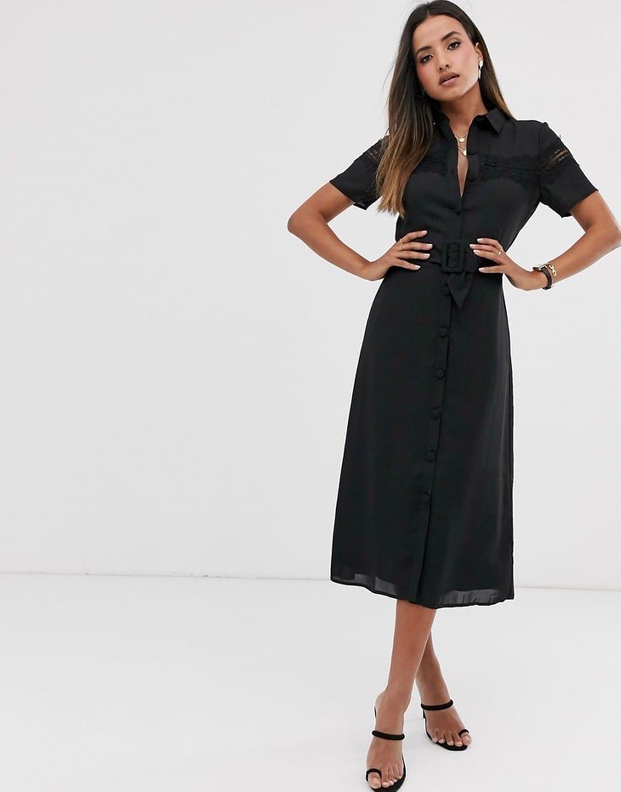 cane da caccia Quasi relè  FASHION UNION Lace Panel And Belt Midi Button Down Shirt Dress ...