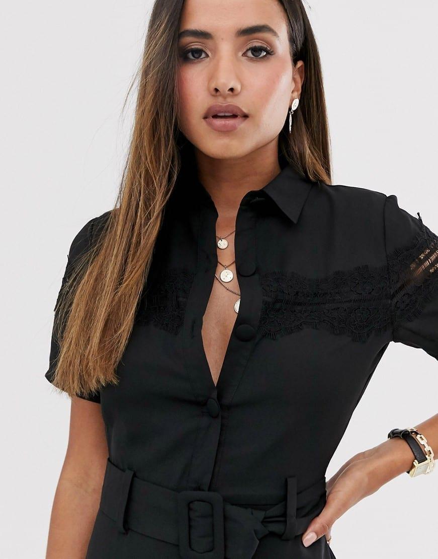 FASHION UNION Lace Panel And Belt Midi Button Down Shirt Dress