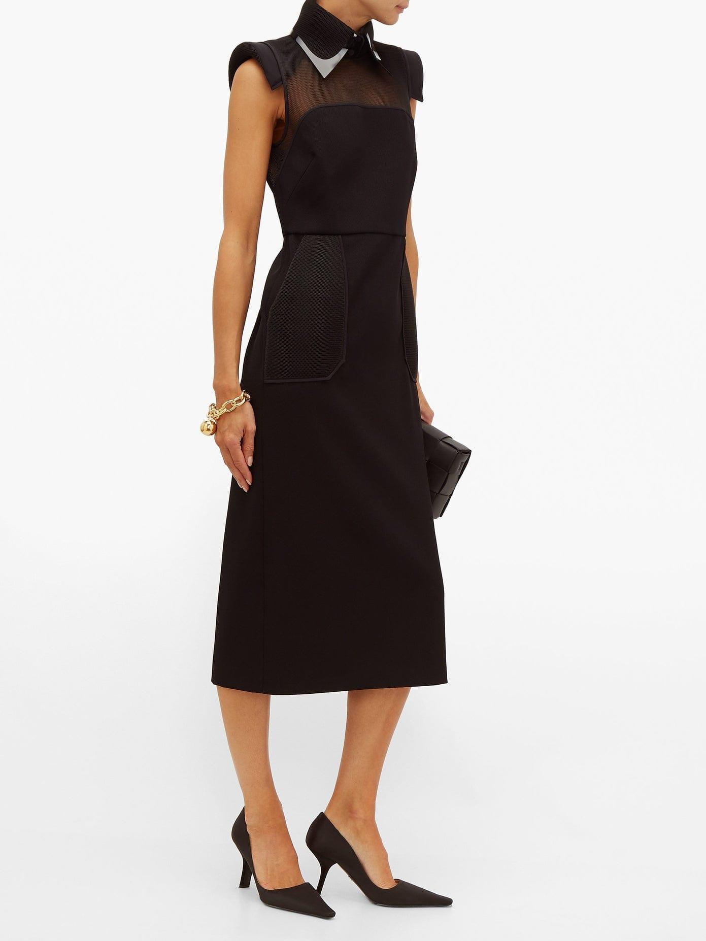 FENDI Pvc Layered Collar Mesh-panelled Wool Dress