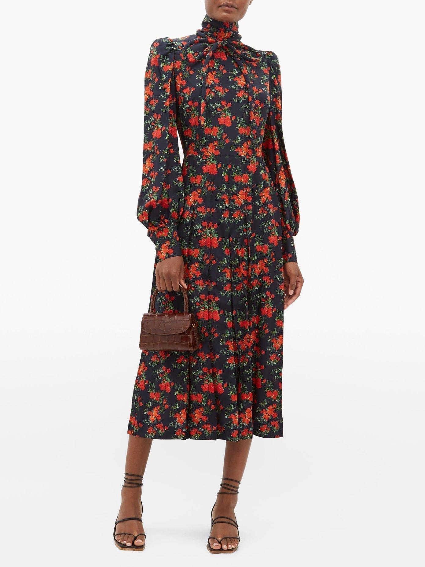 FRANÇOISE Floral-print Bow Neck Silk Midi Dress
