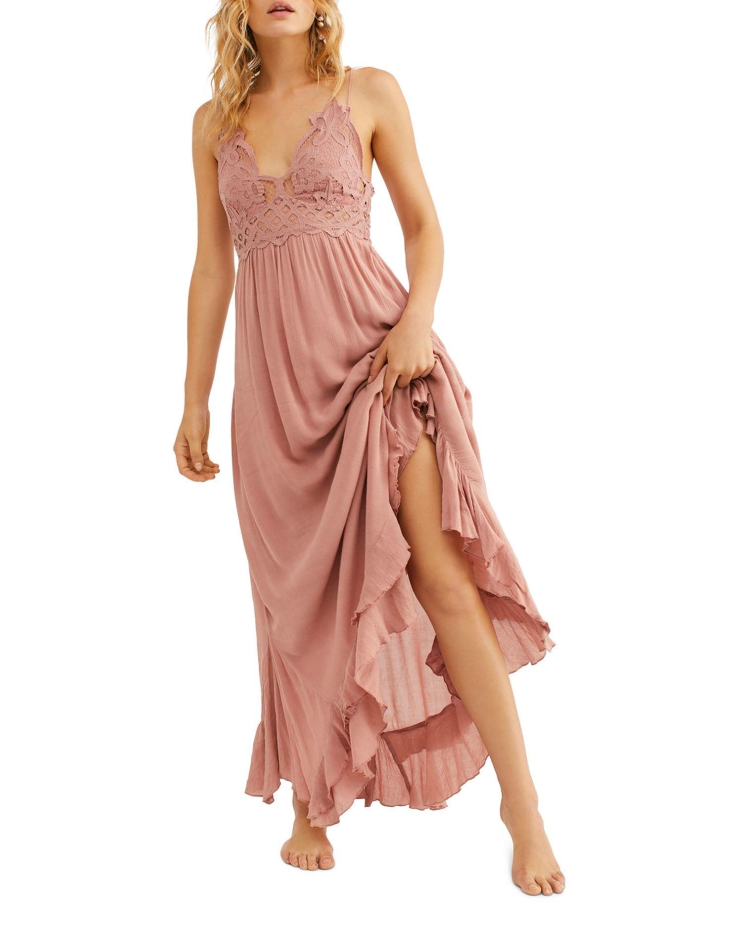 FREE PEOPLE Adella Lace-Trim Maxi Dress