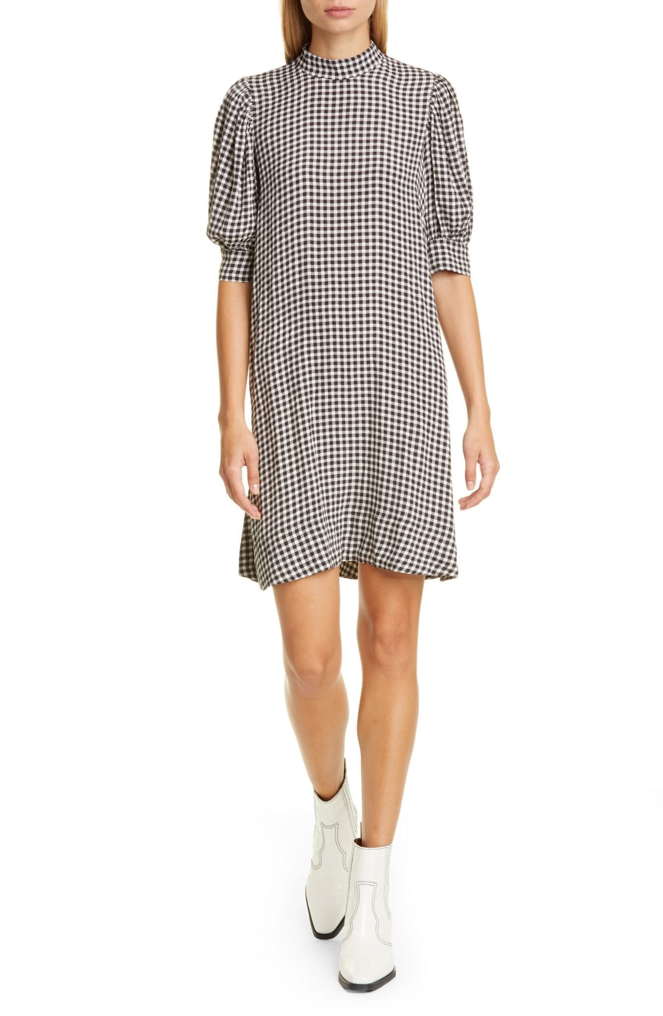 GANNI Gingham Print Crepe Dress
