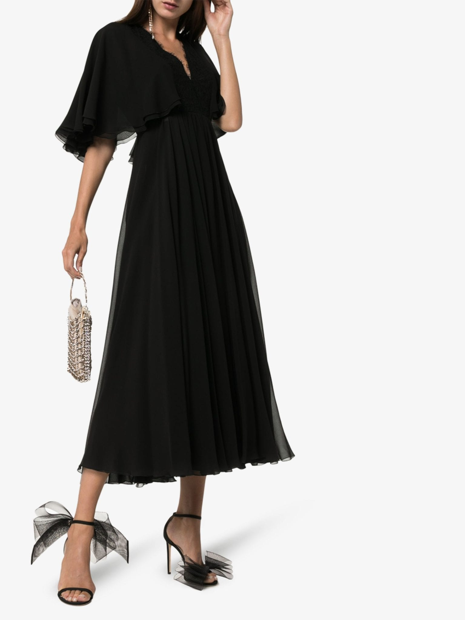 GIAMBATTISTA VALLI Georgette Flared Sleeve Dress