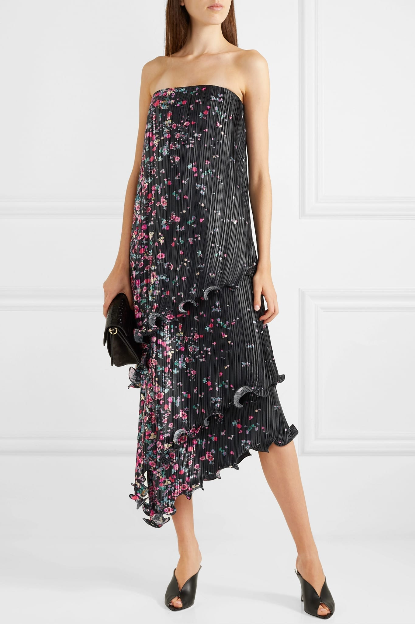 GIVENCHY Strapless Asymmetric Ruffled Floral-print Plissé-satin Dress